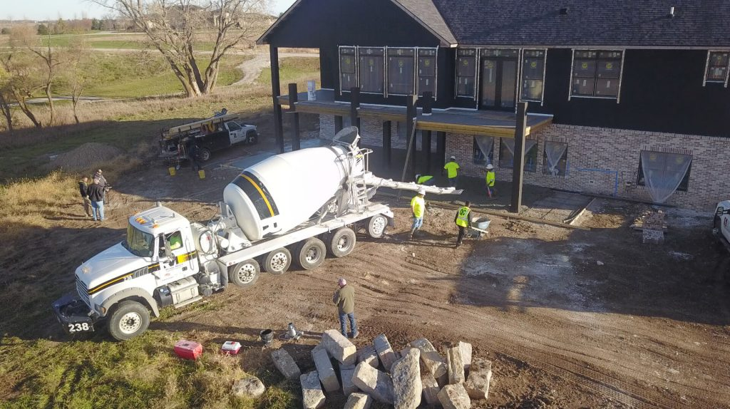 Concrete company, Stephens and Smith, finishing residential concrete project