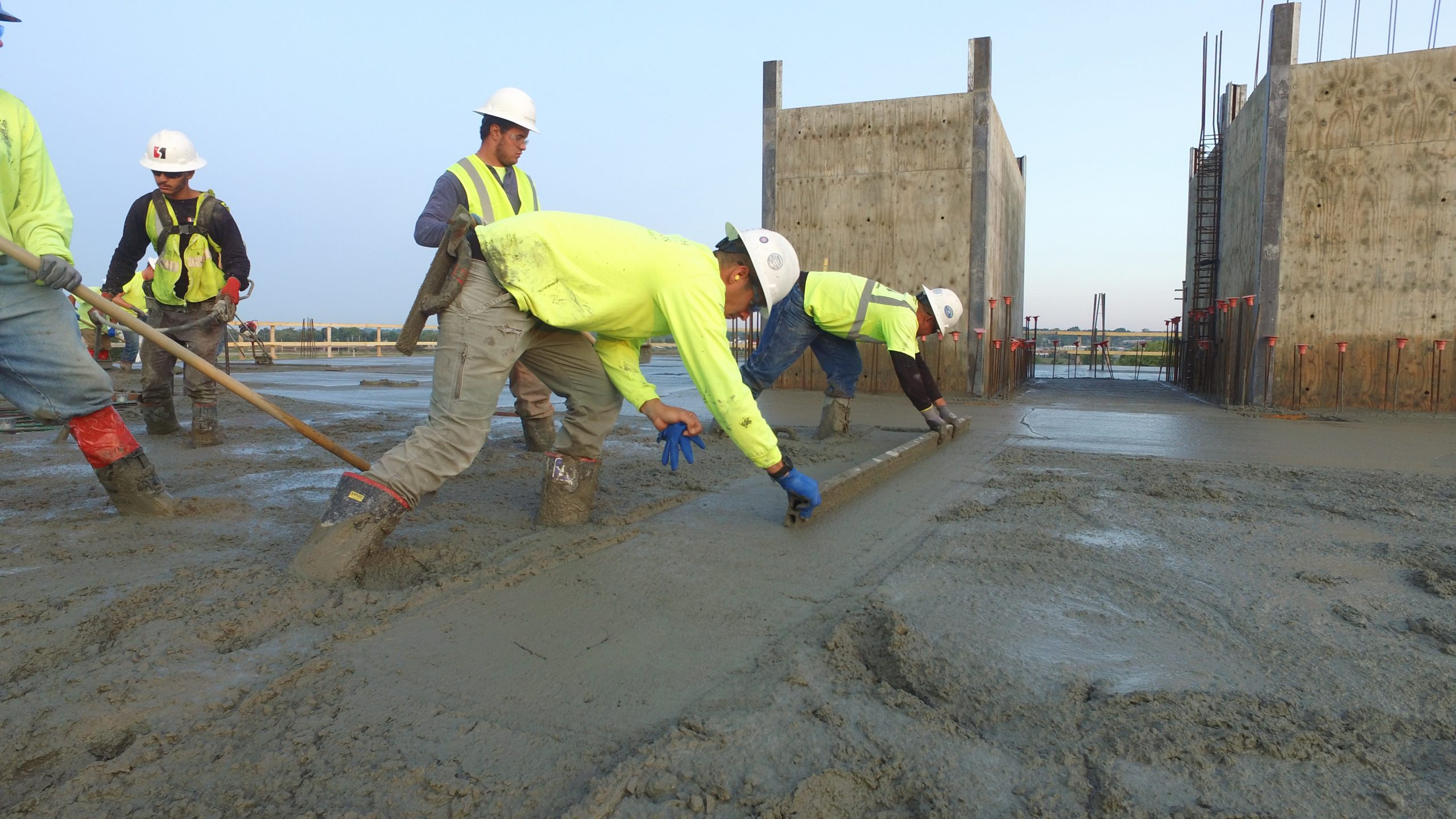 Concrete Specialists doing Commercial Job with the right tools